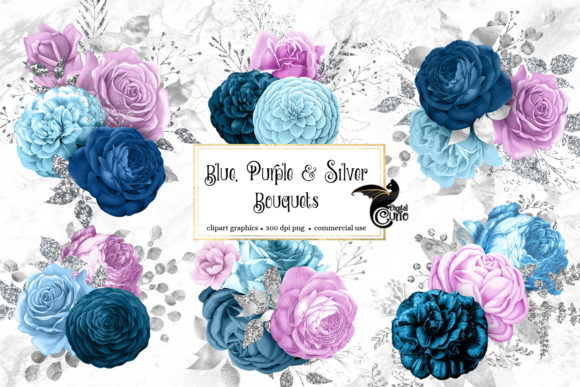 Blue Purple and Silver Bouquets Clipart Graphic Illustrations By Digital Curio - Image 1