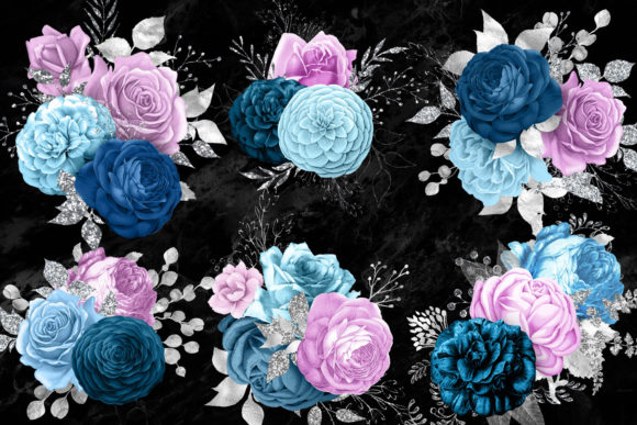 Blue Purple and Silver Bouquets Clipart Graphic Illustrations By Digital Curio - Image 2
