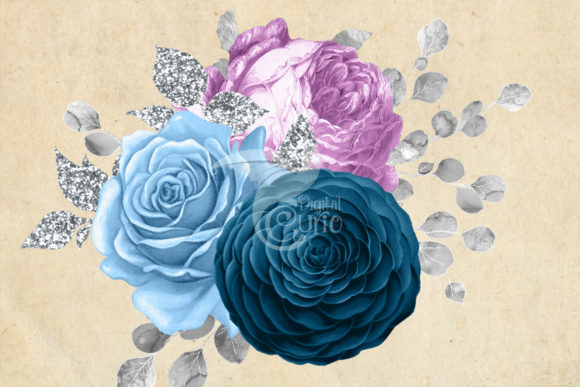 Blue Purple and Silver Bouquets Clipart Graphic Illustrations By Digital Curio - Image 3