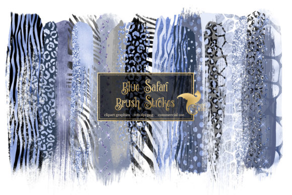 Blue Safari Brush Strokes Clipart Gráfico Ilustraciones Por Digital Curio