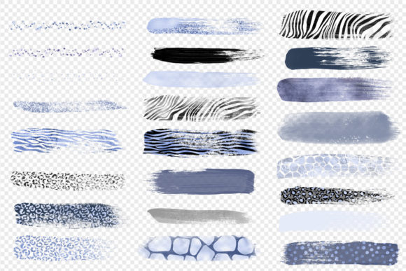 Blue Safari Brush Strokes Clipart Graphic Illustrations By Digital Curio - Image 4