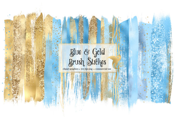 Blue and Gold Brush Strokes Gráfico Ilustraciones Por Digital Curio