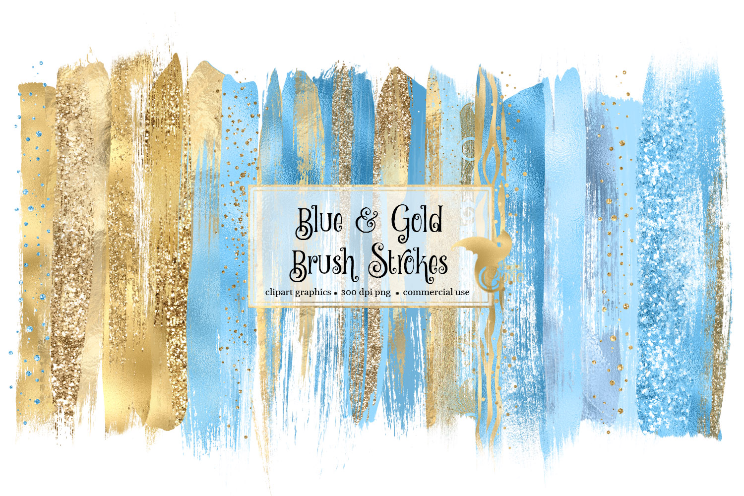 Download Free Blue And Gold Brush Strokes Graphic By Digital Curio Creative Fabrica for Cricut Explore, Silhouette and other cutting machines.