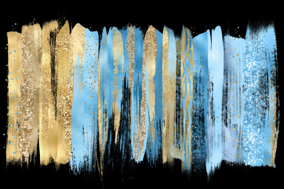 Blue and Gold Brush Strokes Graphic Illustrations By Digital Curio - Image 2