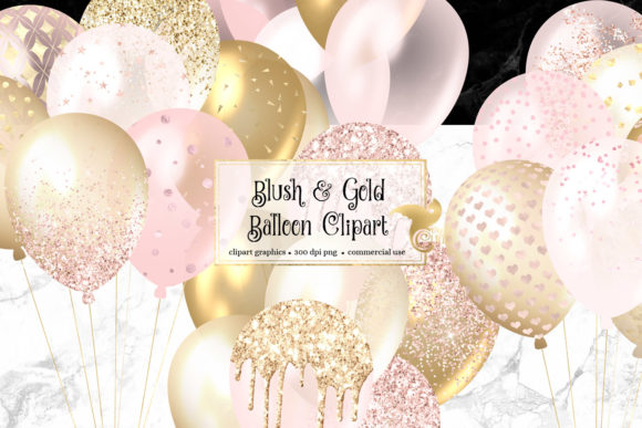 Blush and Gold Balloons Clipart Graphic Illustrations By Digital Curio - Image 1