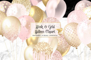 Print on Demand: Blush and Gold Balloons Clipart Graphic Illustrations By Digital Curio