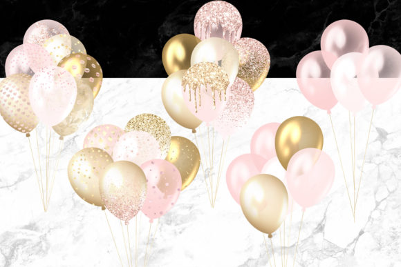 Blush and Gold Balloons Clipart Graphic Illustrations By Digital Curio - Image 2