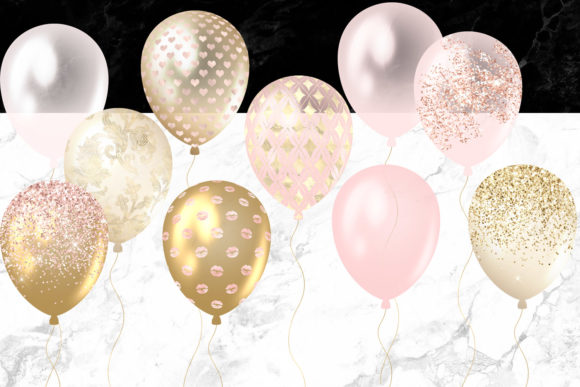 Blush and Gold Balloons Clipart Graphic Illustrations By Digital Curio - Image 3