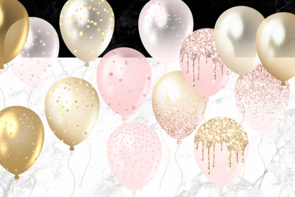 Blush and Gold Balloons Clipart Graphic Illustrations By Digital Curio - Image 4