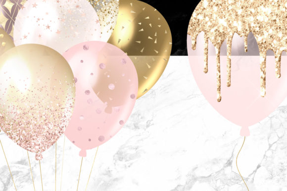 Blush and Gold Balloons Clipart Graphic Illustrations By Digital Curio - Image 5