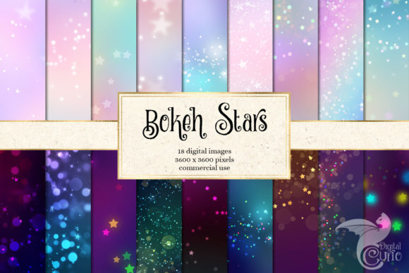 Bokeh Stars Digital Paper Graphic Textures By Digital Curio