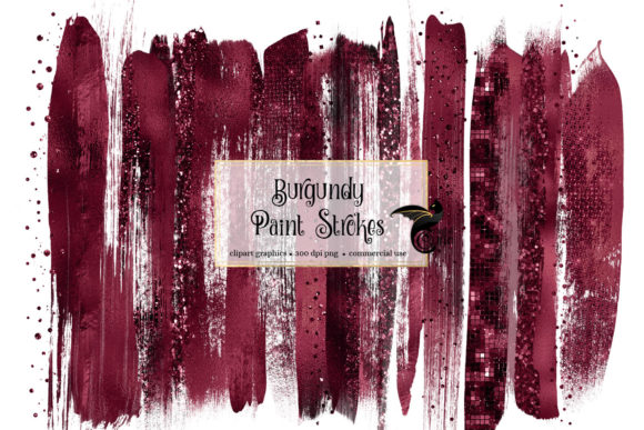 Burgundy Brush Strokes Clipart Grafik Illustrationen von Digital Curio