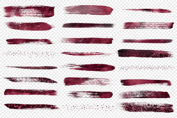 Burgundy Brush Strokes Clipart Graphic Illustrations By Digital Curio - Image 3