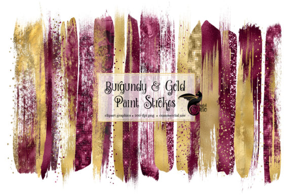Burgundy and Gold Brush Strokes Clipart Graphic Illustrations By Digital Curio - Image 1
