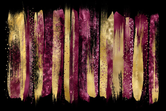 Burgundy and Gold Brush Strokes Clipart Graphic Illustrations By Digital Curio - Image 2