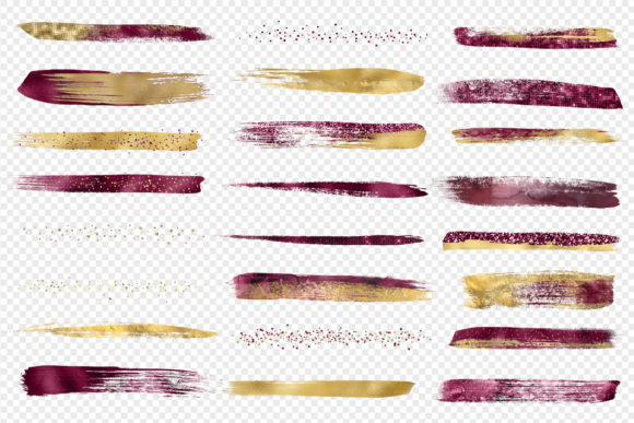 Burgundy and Gold Brush Strokes Clipart Graphic Illustrations By Digital Curio - Image 3