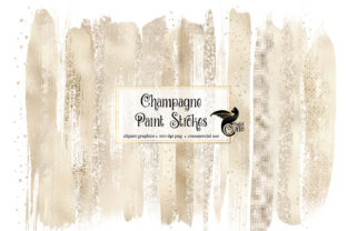 Print on Demand: Champagne Brush Strokes Clipart Graphic Illustrations By Digital Curio
