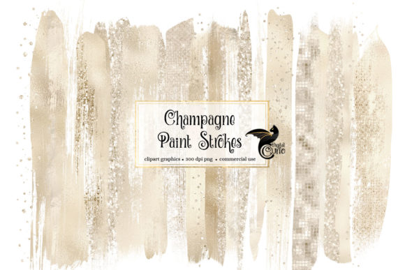 Champagne Brush Strokes Clipart Grafik Illustrationen von Digital Curio