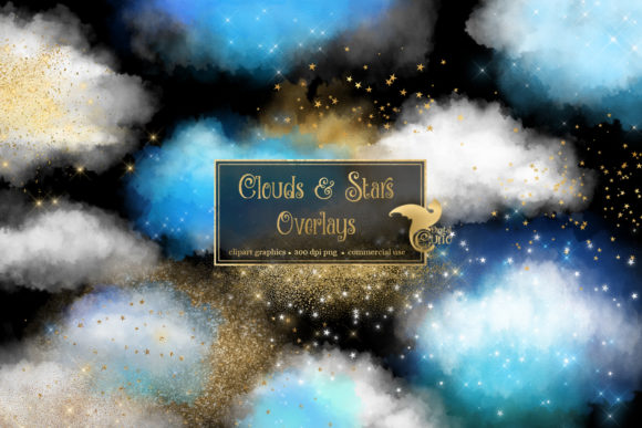 Clouds and Stars Overlays Graphic Illustrations By Digital Curio - Image 1