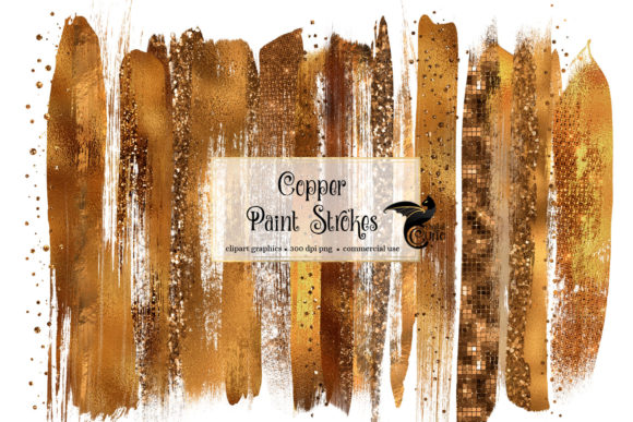 Copper Brush Strokes Clipart Graphic Illustrations By Digital Curio