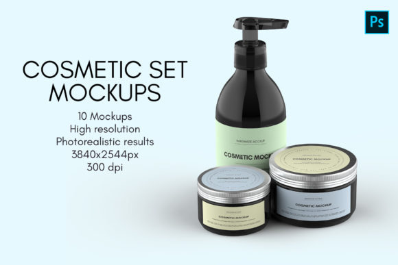 Cosmetic Set Mockups - 10 Views Graphic Product Mockups By illusiongraphicdesign