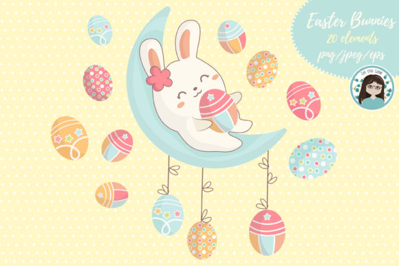 Download Free Easter Kawaii Bunnies Graphic By Cutelittleclipart Creative for Cricut Explore, Silhouette and other cutting machines.