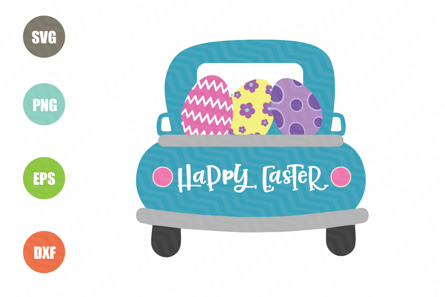 Download Free Easter Truck Happy Easter Graphic By Logotrain034 Creative for Cricut Explore, Silhouette and other cutting machines.