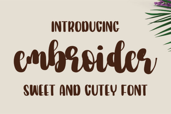 Print on Demand: Embroider Script & Handwritten Font By bitongphoto