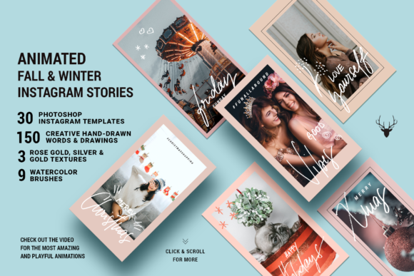 Print on Demand: Fall & Winter ANIMATED Insta Stories Graphic Websites By SilverStag