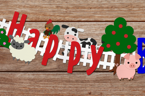 Farm Animal Party Banner Set Graphic Crafts By RisaRocksIt