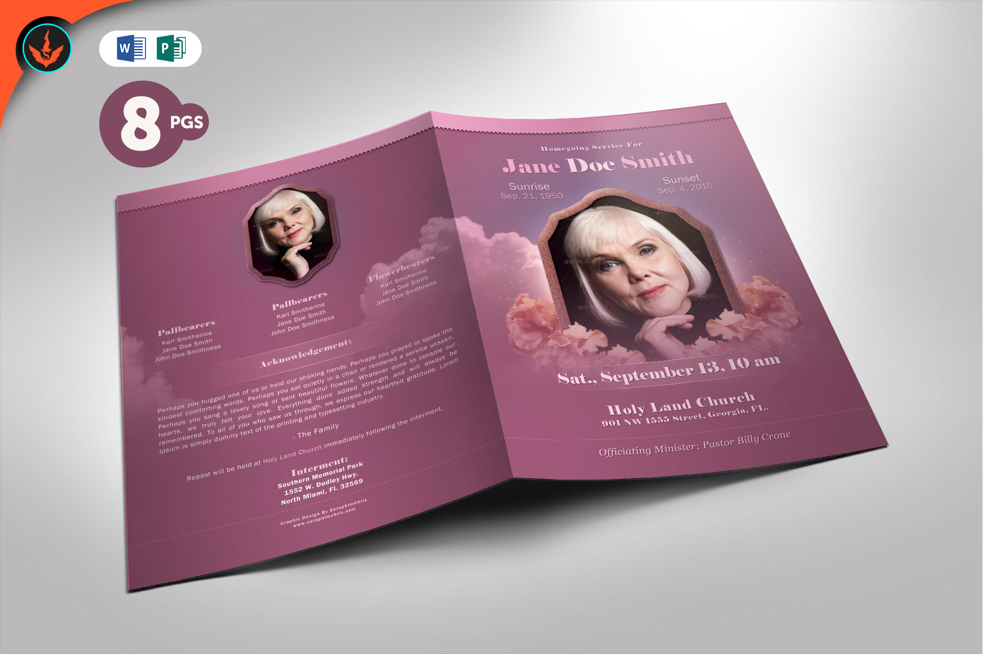 Download Free Funeral Program Template Graphic By Seraphimchris Creative Fabrica for Cricut Explore, Silhouette and other cutting machines.