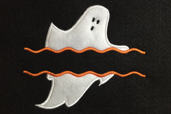 Ghost Split Applique Halloween Embroidery Design By DesignedByGeeks