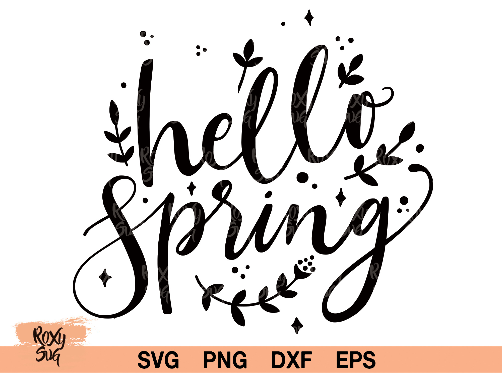 Download Free Hello Spring Graphic By Roxysvg26 Creative Fabrica for Cricut Explore, Silhouette and other cutting machines.