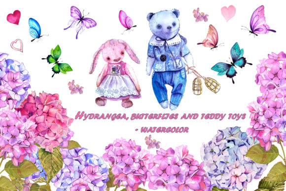 Print on Demand: Hydrangea, Butterflies and Teddy Bears Graphic Illustrations By ElenaZlataArt