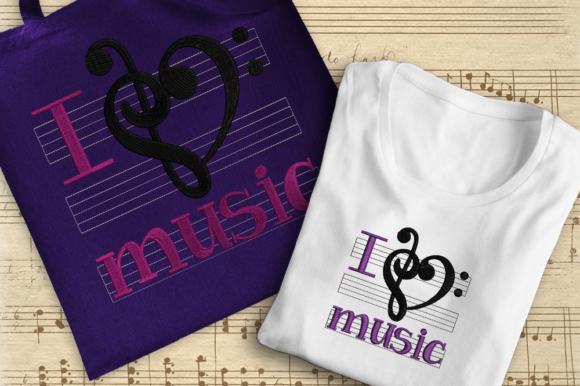 I Love Music Music Embroidery Design By DesignedByGeeks - Image 1