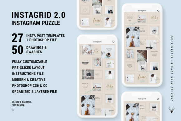 Print on Demand: InstaGrid 2.0 - Instagram Puzzle Graphic Websites By SilverStag