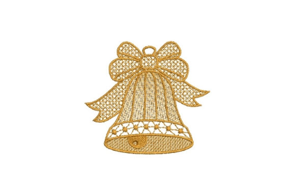 Lace Bell Christmas Embroidery Design By Carol Undy - Image 1