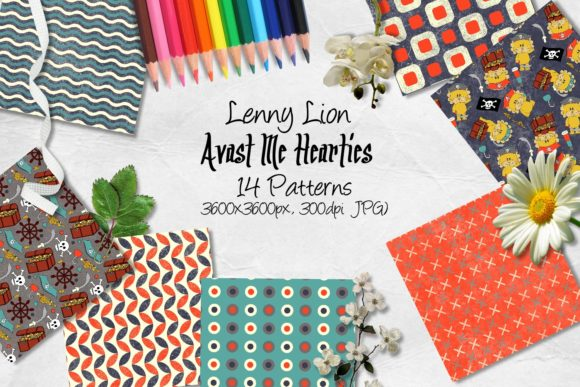 Print on Demand: Lenny Lion Avast Me Hearties CU Paper Graphic Backgrounds By Arda Designs