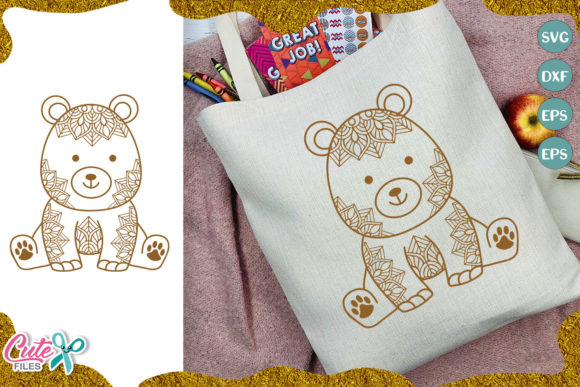Little Bear with Mandala Cut File Graphic Illustrations By Cute files