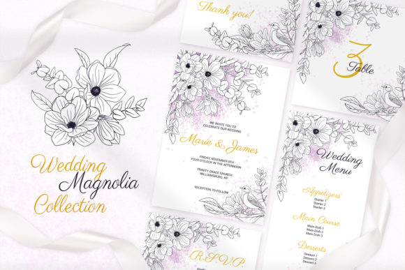 Magnolia Wedding Invitation Cards Graphic By Pawstudio