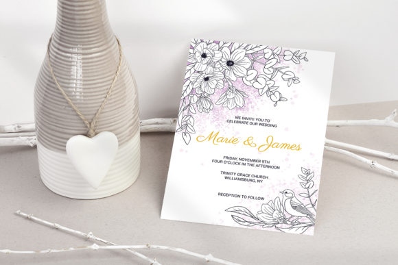 Download Free Magnolia Wedding Invitation Cards Graphic By Pawstudio for Cricut Explore, Silhouette and other cutting machines.