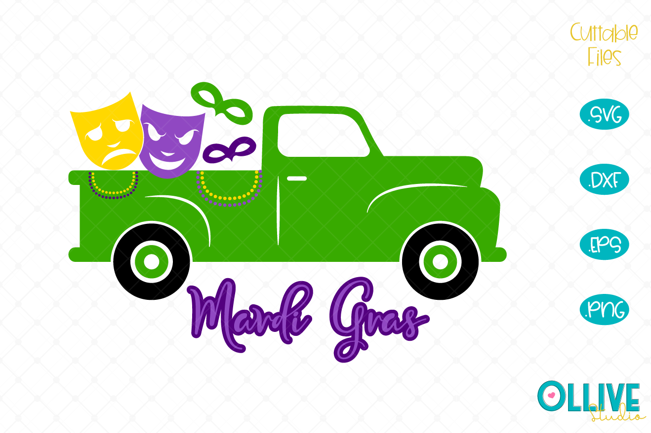 Download Free Mardi Gras Truck Graphic By Ollivestudio Creative Fabrica for Cricut Explore, Silhouette and other cutting machines.