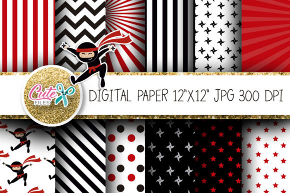 NInja Digital Paper for Scraobooking Graphic Textures By Cute files