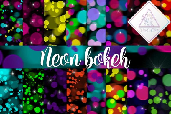 Print on Demand: Neon Bokeh Digital Paper Graphic Backgrounds By fantasycliparts