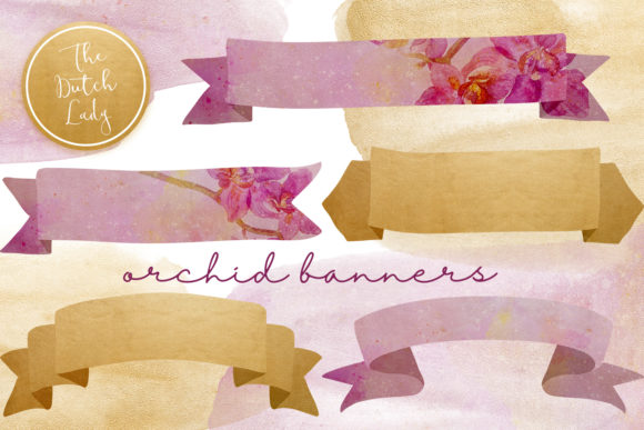 Print on Demand: Orchid Banner Clipart Set Graphic Crafts By daphnepopuliers