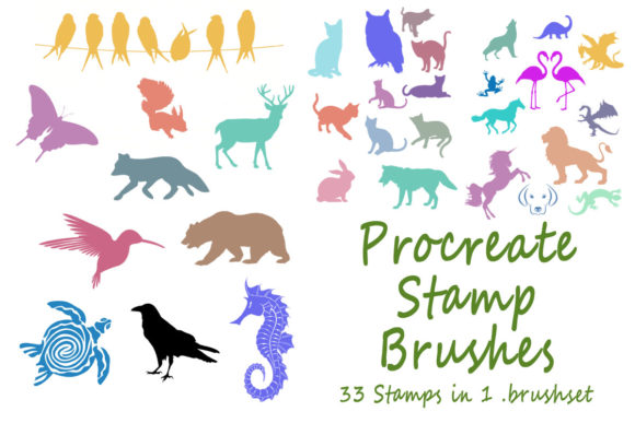 Print on Demand: Procreate Stamp Brushes Brush Set Animal Graphic Brushes By ProDigis
