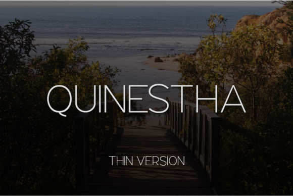 Print on Demand: Quinestha Thin Sans Serif Font By Huntype