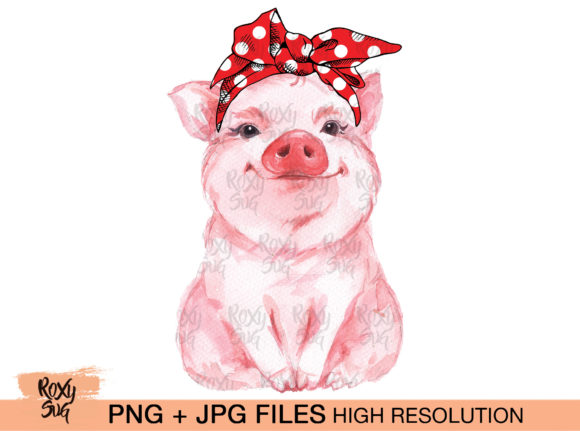 Print on Demand: Red Bandana Pig Graphic Crafts By roxysvg26 - Image 1
