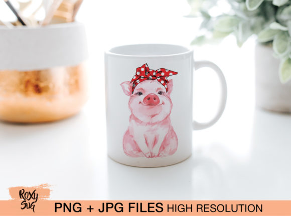Print on Demand: Red Bandana Pig Graphic Crafts By roxysvg26 - Image 2