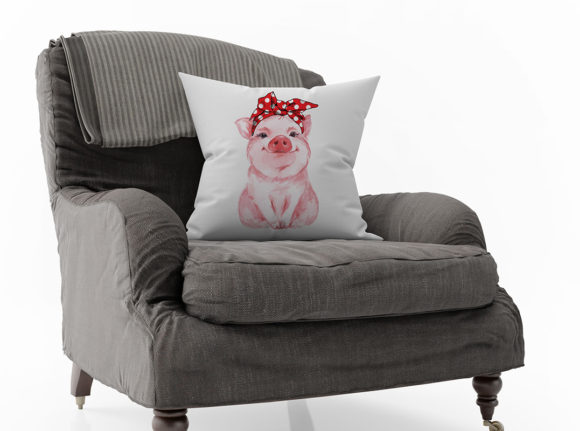 Print on Demand: Red Bandana Pig Graphic Crafts By roxysvg26 - Image 4